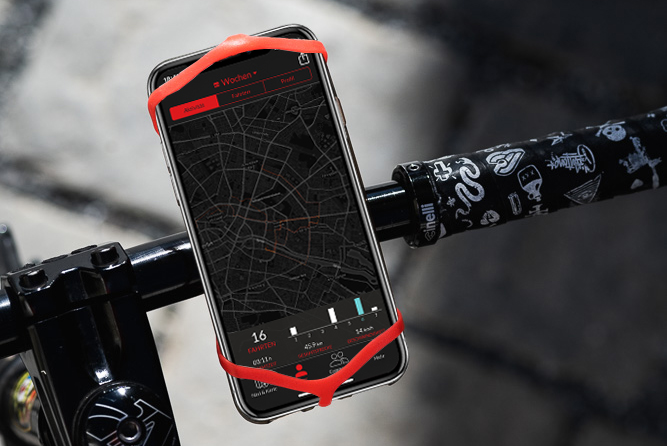 Red Smartphone holder with Smartphone